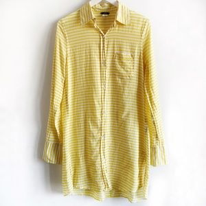 J.Crew Shirt Tunic Dress in Yellow Stripes